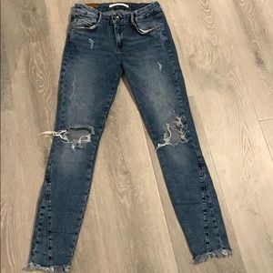 Zara Distressed Jeans Frayed Hem